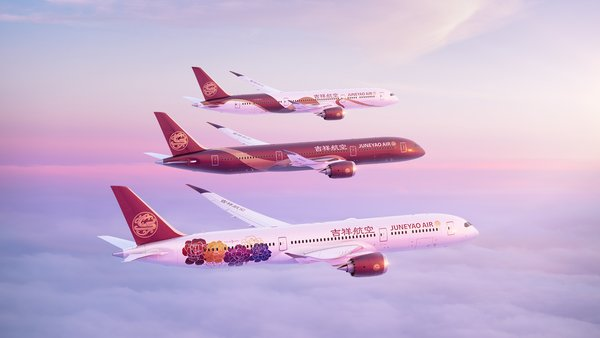 """Juneyao Air Boeing 787 """"Chinese style"""" liveries - """"Peony"""", """"Chinese Red"""" and """"Chinese Ribbon"""""""