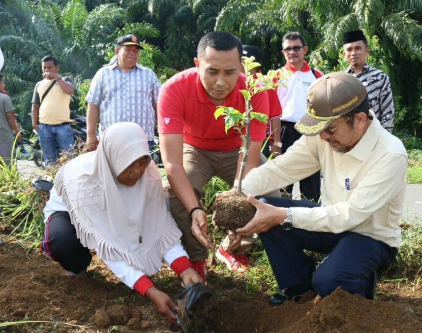 Penanaman bunga oleh Bupati Pasbar Syahiran didampingi Kabag Humas Yormar Difia.