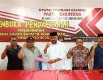 Sumail Abdullah saat mendaftar di DPC Partai Gerindra Situbondo