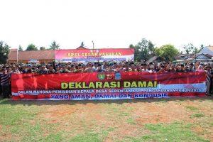 Wow! Polres Ciamis Apel Gelar Pasukan PAM Pilkades Pangandaran dan Deklarasi Damai