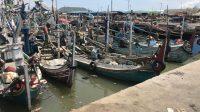 Sejumlah Kapal Nelayan di pelabuhan Muncar Banyuwangi