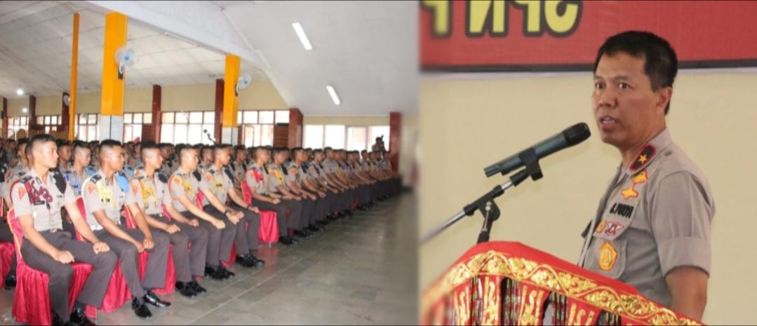 Wakapolda Sumbar Brigjen Pol Rudy Sumardiyanto, M.Si memberikan arahan kepada siswa Diktuk BA Polri TA. 2019/2020 di SPN Polda Sumbar, Rabu (26/2).