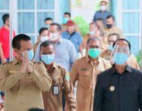 Bupati Pasaman Yusuf Lubis dan Wali Kota Pariaman Genius Umar bersama rombongan di Balerong Pusako Anak Nagari, Senin (21/9/20).