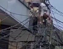 Foto: korban terkapar setelah tersengat listrik.