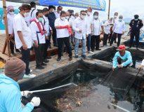 Foto: proses Panen Lobster GPLI disaksikan Menteri KKP Sakti Wahyu Trenggono.